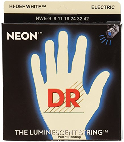 DR Strings NWE-9 DR NEON Electric Guitar Strings, Light, Whi