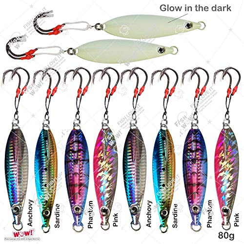 (Fish WOW! 10pcs 80g Fishing Flat Fall jig 2.8oz Vertical Jig Trolling with Two Assist Hooks 5-Color Set)
