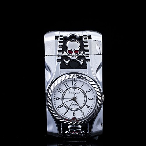 Multi-function Silver Cigarette Lighter with Skull Head Decorative Quartz Watch, Windproof Jet Torch Flame Butane Gas Lighter for Men - (Multifunction Lighter)