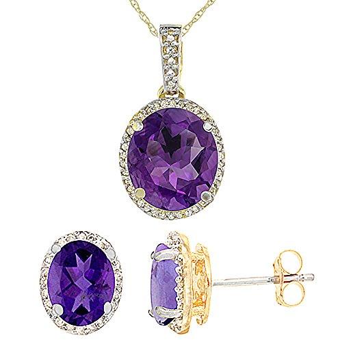 Or jaune 9Ct naturel ovale Améthyste Boucles d'oreilles et pendentif Set Accents de diamant