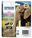 Epson C13T24264012 24 Series Elephant Claria Photo HD Ink Cartridge, Light Magenta, Genuine