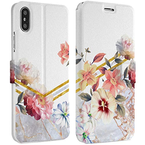 Wonder Wild Peonies Beams iPhone Wallet Case X/Xs Xs Max Xr Case 7/8 Plus 6/6s Plus Card Holder Accessories Smart Flip Hard Design Protection Cover Golden Floral Geometrical Stripes Luxury Stylish ()