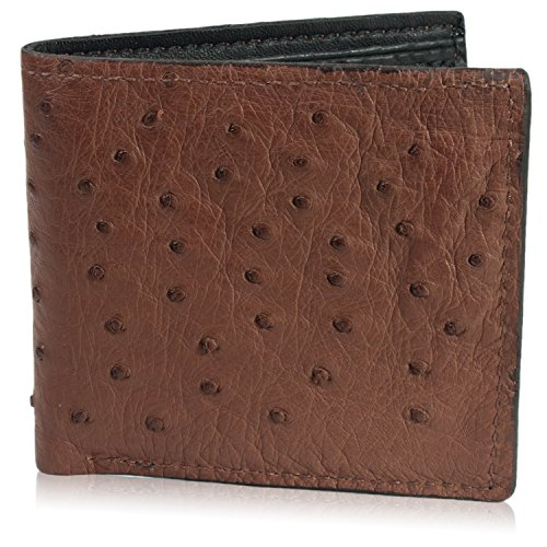 Genuine Brown Ostrich Skin Leather Bifold Wallet Handmade with 8 Card Slots
