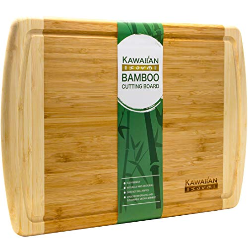 (Kawaiian Bamboo Cutting Board for Kitchen - Extra Large Organic Wooden Chopping Board with Drip Groove - Serving Tray for Appetizers, Bread, and Cheese)