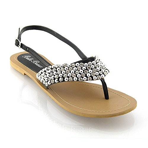 LADIES FLAT DIAMANTE TOE POST WOMENS PEARL HOLIDAY DRESSY PARTY SANDALS SIZE 3-8 Black HxEnxX7Tte