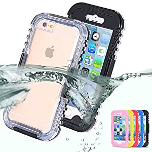 Swimming Pouch Cover for Apple iphone6 Plus 5.5 / i6 4.7 Hard Clear Transparent Front Back Strap Waterproof Cases for iphone 6 --- Color:red