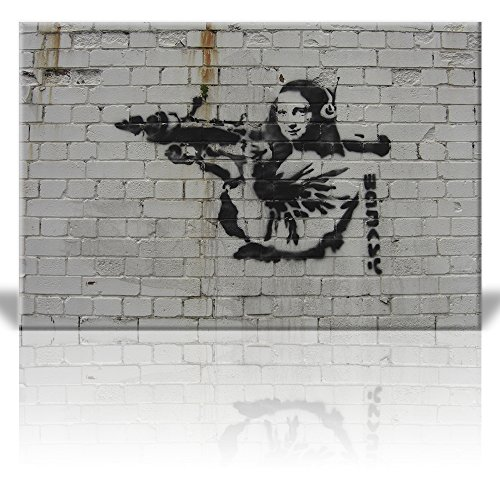 - wall26 - Canvas Print Wall Art - Mona Lisa with Rocket Launcher and Headphones - Street Art - Guerilla - Banksy Street Artwork on Canvas Stretched Gallery Wrap. Ready to Hang - 24 x 36 inches