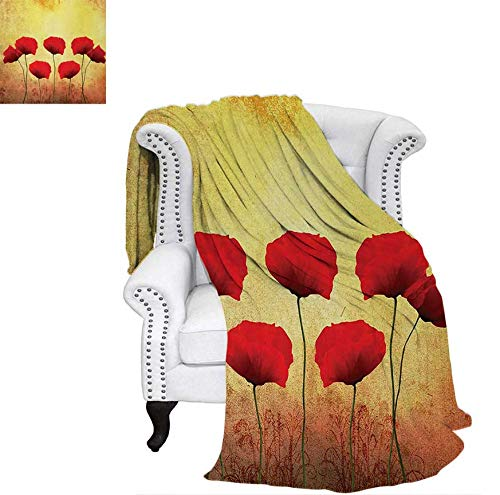 Digital Printing Blanket Poppies on Old Aged Retro Featured Backdrop Design Past Days Drama Petals Summer Quilt Comforter 60
