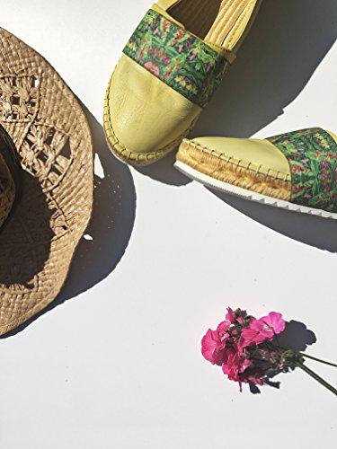 Agilis Barcelona Womens Canvas Slip On Shoes Pelle Italiana Di Bambù Espedrille - Ebro Elastico Mango