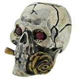 Rose Skull with Red Rhinestone Eyes Paracord / Lanyard Bead in .925 Sterling Silver & Bronze by GD Skulls