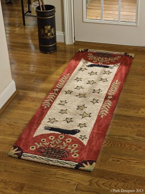 Park Designs Folk Crow Hooked Rug Runner, 24 x 72""