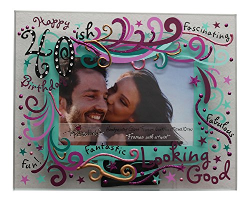 Top Shelf 40th Birthday Picture Frame - Happy 40ish Hand Painted 6 x 4 Glass Picture Frame - Glass Frameless Picture Frame for Birthday