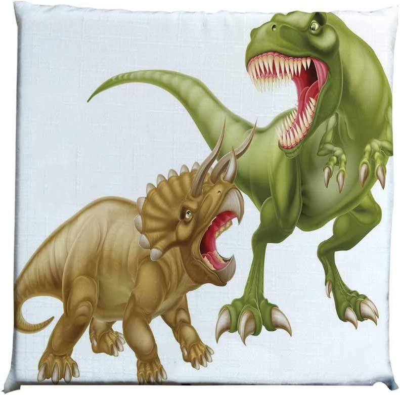 YOLIYANA Dinosaur Durable Square Chair Pad,T Rex Versus Triceratops Fighting Scaring Each Other Wild Reptiles Decorative for Bedroom Living Room,One Size