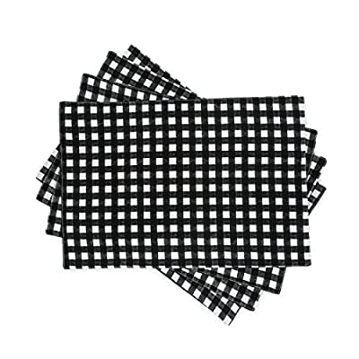 LinenTablecloth Black and White Checkered Placemats, 4-Pack - Placemats measure 13 x 19 in 100% cotton, made in India 4 place mats per set - placemats, kitchen-dining-room-table-linens, kitchen-dining-room - 51d%2BFFOtukL. SS400  -