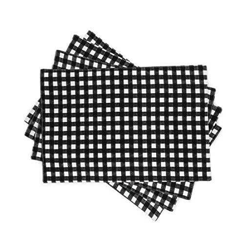 Linentablecloth Black And White Checkered Placemats 4