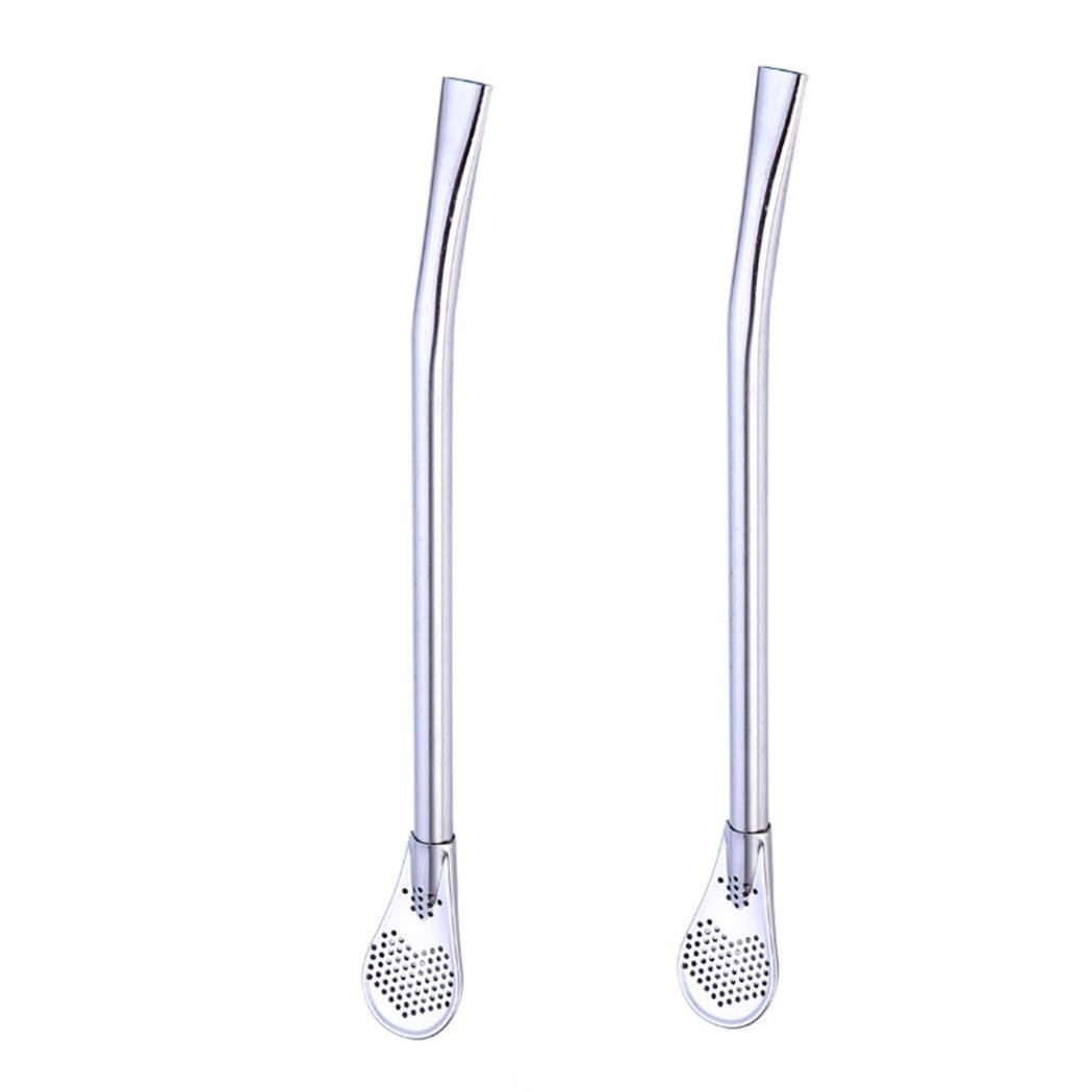 Amazon.com: Longay 2pcs Stainless Steel Colorful Straws Yerba Mate Tea Bombilla Gourd Filtered Spoon Straw (Multicolor): Kitchen & Dining