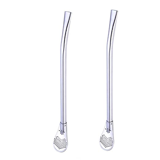 Amazon.com: Longay 2pcs Stainless Steel Colorful Straws Yerba Mate Tea Bombilla Gourd Filtered Spoon Straw (Black): Kitchen & Dining