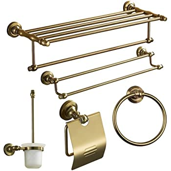 Antique Gold Polished Bathroom Accessories White Crystal