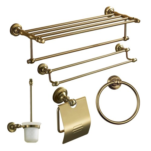 Lightinthebox Bath Accessory Set Antique 5 Piece Anodizing Aluminum Hardware Set With Toilet Brush Holder, Bathroom Shelf, Toilet Paper Holder, Towel Ring, Towel Bar