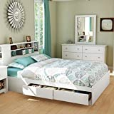 white storage bed queen - South Shore Vito Collection Queen 60-Inch Mates Bed, Pure White