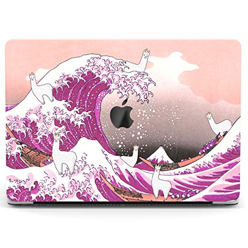 Wonder Wild Case For MacBook Air 13 inch Pro 15 2019 2018 Retina 12 11 Apple Hard Mac Protective Cover Touch Bar 2017 2016 2015 Plastic Laptop Print Big Wave Cute Alpaca Pink Art Kanagawa Llama Kawaii