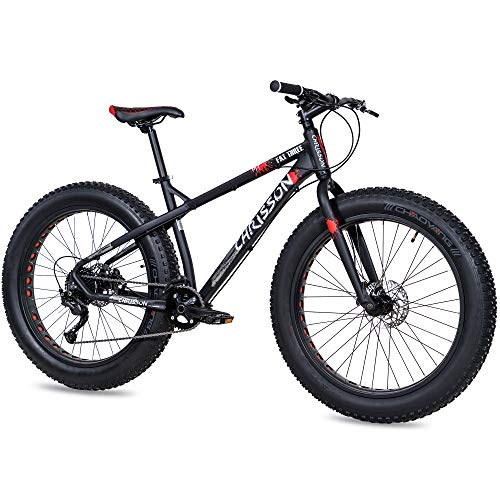 CHRISSON Fat Three Fatbike Mountainbike, 26 inch, zwart-rood, hardtail Fat Tyre mountainbike, fiets met 4,0 dikke banden…