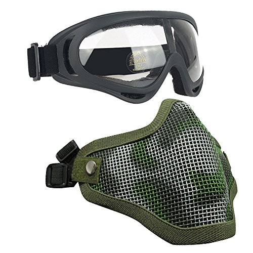 Airsoft Masks- Adjustable Half Metal Steel Mesh Face Mask And UV400 Goggles Set For Hunting, Paintball, Shooting (Jungle, 1 - Will Lenses Replace Oakley