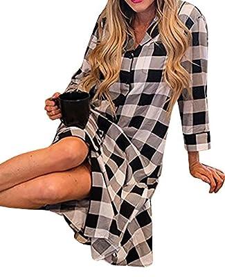 Womens Pajamas Long Plaid Cotton PJ Set Night Sleepwear Shirt