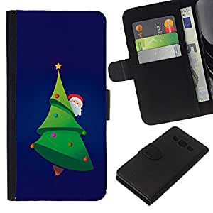 KingStore / Leather Etui en cuir / Samsung Galaxy A3 / ?rbol de Navidad de Santa Picea Verde Barba sombrero