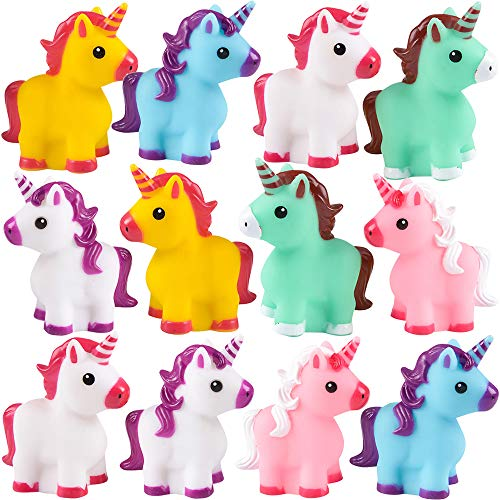 Bedwina Mini Unicorn Toy Figures - (Pack of 12) Squirt Bath Tub Toy for Kids, Squeezable and Squirtable Figurine Party Favor Supplies & Goodie Bag Fillers