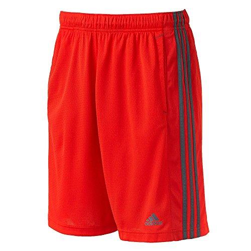 adidas Men's Essentials 3-Stripe Shorts, Red/Grey, X-Large Tall ()