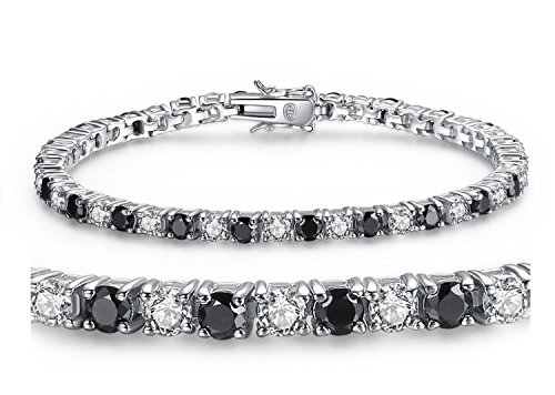 MABELLA Sterling Silver Black & White Round Cut Cubic Zirconia Tennis Gem. Bracelet 7.5 Inches, for Women