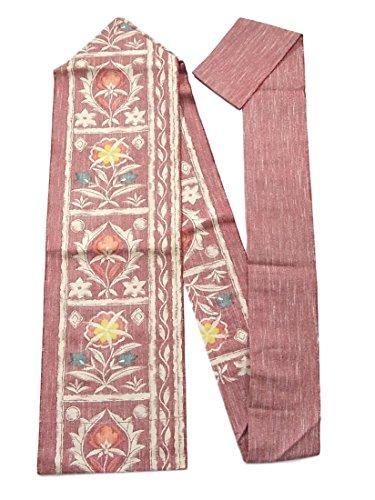 どれか不器用アシストリサイクル 名古屋帯 紬 正絹 花模様 八寸