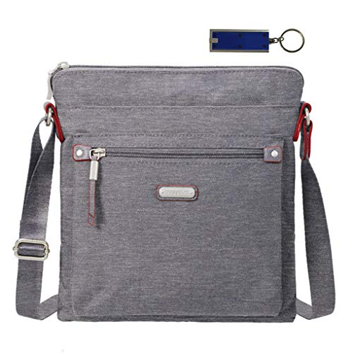 Body Cross Bagg Purse (Baggallini Go Crossbody Bag, RFID Wristlet, Bundle with complimentary Travel Earphones (Stone))