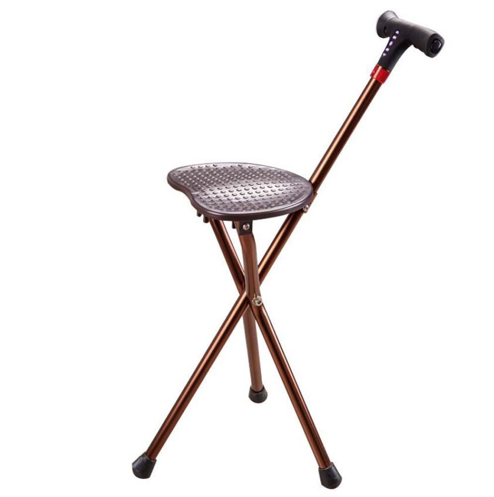 Onfly Pieghevole bastone da passeggio astuto Sgabello multifunzione portatile Sgabello da grucciaio treppiede Canna antiscivolo Sedia da seduta Anziani Disabilità Seggiolone pieghevole