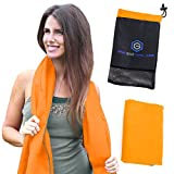 Microfiber Quick Dry Travel Towel - Lightweight & Sports Towel for Beach, Fitness, Gym, Yoga, Bath Antibacterial & Extra Absorbent Free Carry Bag for Easy Storage