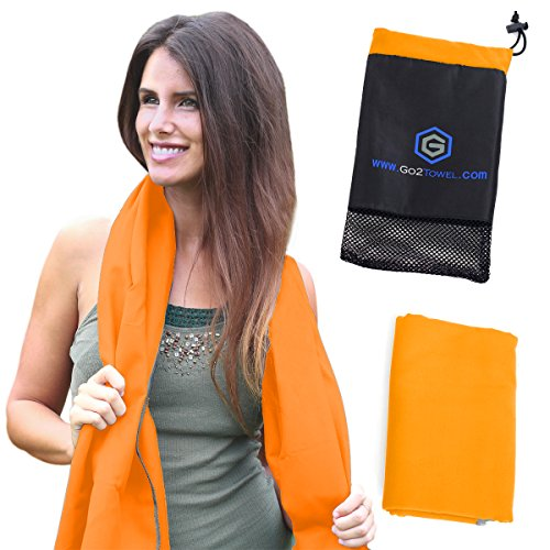 Microfiber Quick Dry Travel Towel - Lightweight & Sports Towel for Beach, Fitness, Gym, Yoga, Bath Antibacterial & Extra Absorbent Free Carry Bag for Easy Storage -