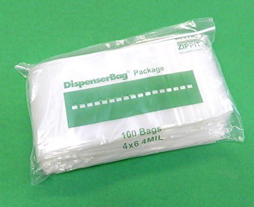"100 ZIPLOCK BAGS 6x4 CLEAR 4MIL POLY BAGS RECLOSABLE BAG 4 Mil RELOC 6/"" x 4/"""