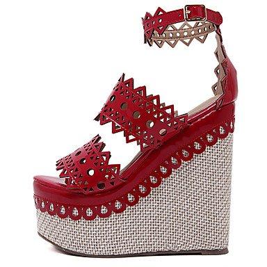 LvYuan Mujer-Tacón Cuña-Otro-Sandalias-Vestido-Vellón-Negro Rojo Red