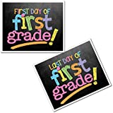 First Grade First & Last Day of School Photo Prop Sign - Pastel Text Chalkboard Design