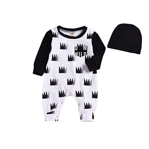 1d2504d52af4e Amazon.com  Baby Romper Jumpsuit Onsies for 0-24 Months on Newborn Playsuit One  Piece Outfits with Hat  Clothing