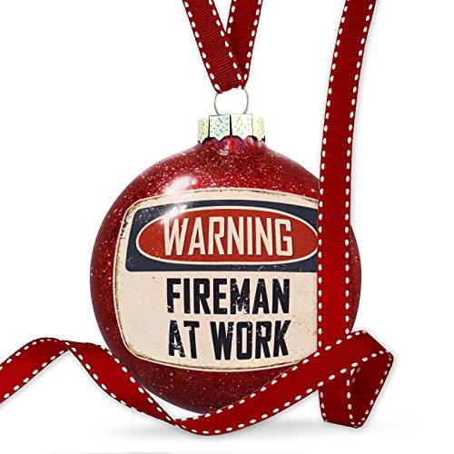 NEONBLOND Christmas Decoration Warning Fireman at Work Vintage Fun Job Sign Ornament