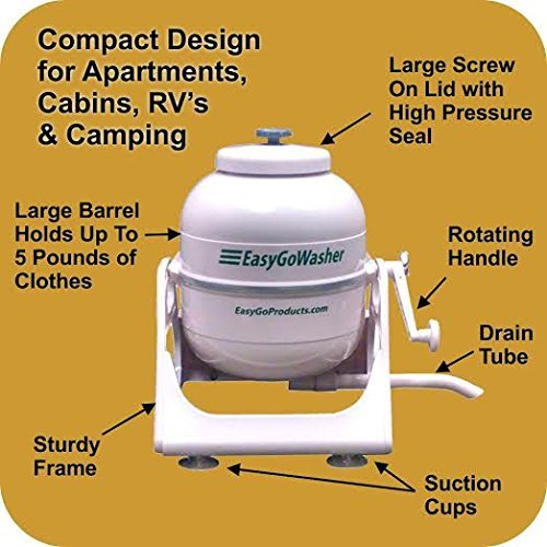 Hand Powered Washing Machine- No Electric Needed Effective Simple Method For Clean Clothes- Excellent For Survival When Electricity Goes Out- Hiking, Camping, Base Camp-Light and Portable