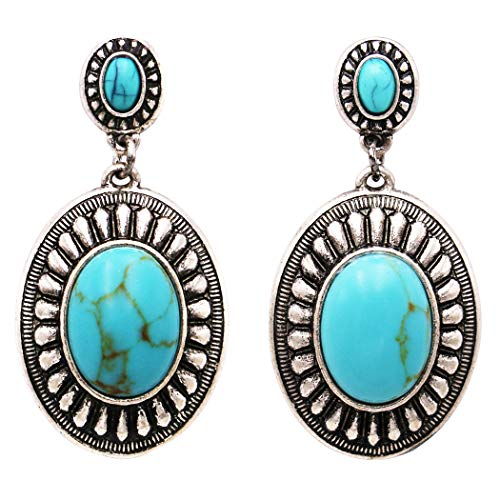 Rosemarie Collections Women's Southwestern Navajo Double Concho Style Turquoise Drop Dangle Statement -