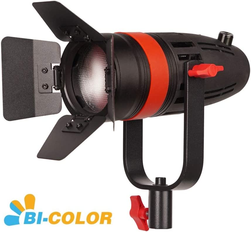 High Output 55W Bi-Color 3200K-5600K CRI96 CAME-TV Boltzen F-55S COB Fresnel Focusable Led Video Light TLCI97+Dimmable 0/%-100/% Dual Power Supply W//Filter Set,Removable Barn-Door,Carry Bag