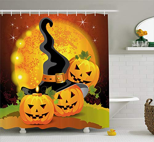 Ambesonne Halloween Shower Curtain, Witches Hat Spooky Pumpkins Magical Night Autumn Nature Full Moon, Fabric Bathroom Decor Set with Hooks, 75 inches Long, Light Orange Green Black -
