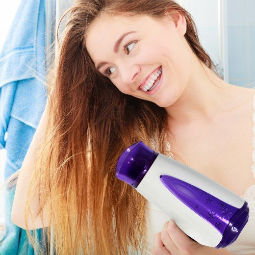 Foldable Mini Hair Dryer with Free Hair Brush (Green Brush) by One & Only USA