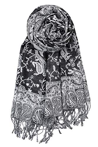 Achillea Soft Silky Reversible Paisley Pashmina Shawl Wrap Scarf w/Fringes (Black White)