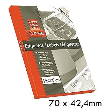 Etiquetas Impresora PRAXTON 70 x 42,4 mm. 2100u, Caja x100 Hojas ...