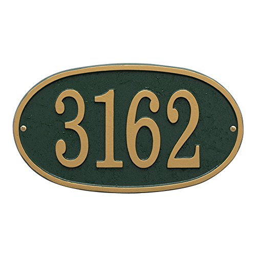 House Name Plaques - Whitehall Personalized Cast Metal Address Plaque - Custom House Number Sign - Oval (12